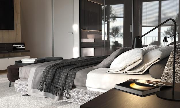 유리 파티션이있는 미니멀리즘 현대적인 인테리어 디자인 침실. 프리미엄 사진