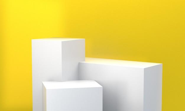 Minimalist abstract background, primitive geometrical figures, 3d render. Premium Photo