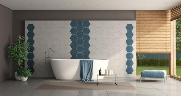 Минималистичная ванная комната с ванной и стеной из шестиугольной плитки - 3d-рендеринг Premium Фотографии