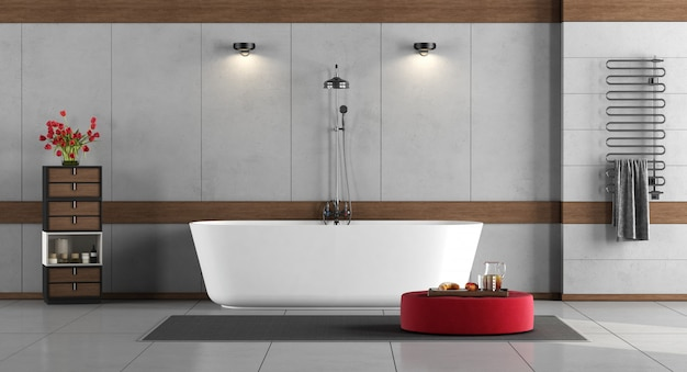 Premium Photo Minimalist Bathroom With Bathtub And Shower