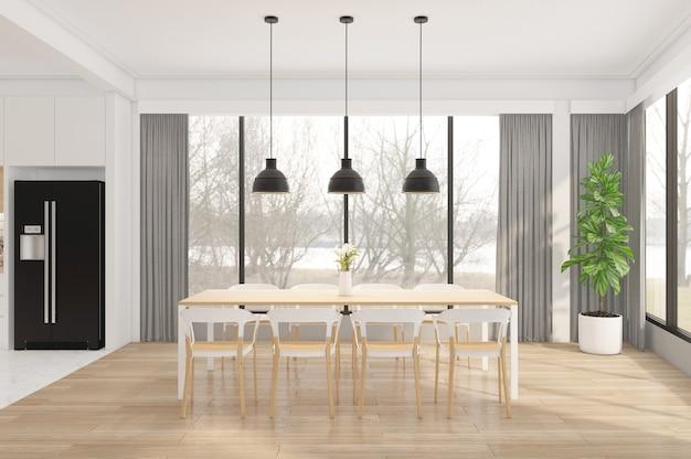 Minimalist Dining Room With Wood Floor, Minimalist Dining Room Table