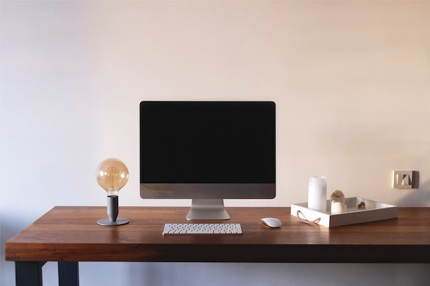 Minimalist home workplace with a scandinavian style lamp with trendy shades Premium Photo