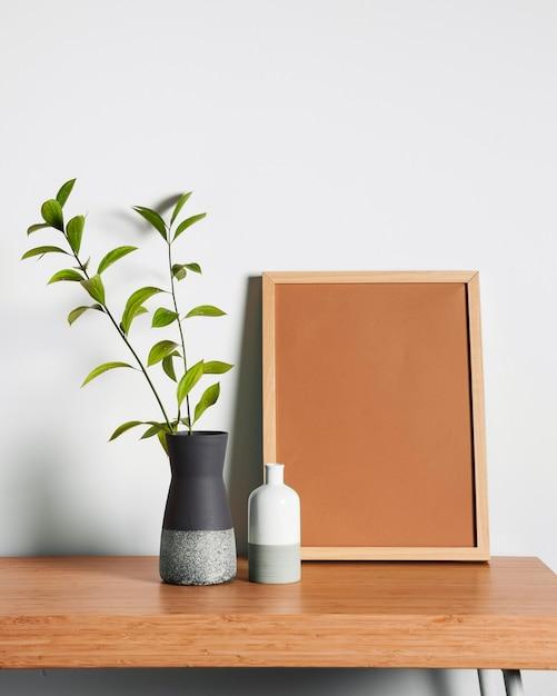 Minimalist interior desk design Premium Photo