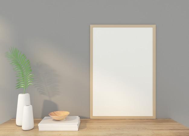 회색 벽과 미니멀리스트 액자. 3d 렌더링 프리미엄 사진