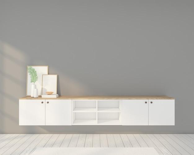 액자, Tv 캐비닛 및 회색 벽이있는 미니멀리스트 객실입니다. 3d 렌더링 프리미엄 사진