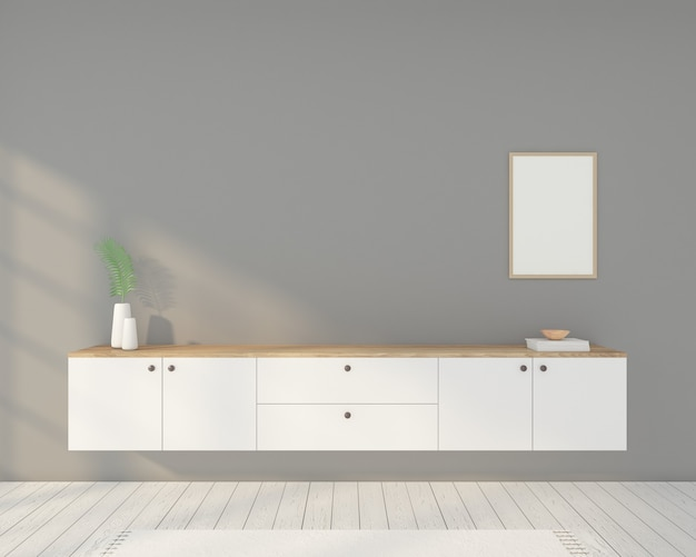 흰색 Tv 캐비닛, 액자 및 회색 벽이있는 미니멀리스트 객실입니다. 3d 렌더링 프리미엄 사진