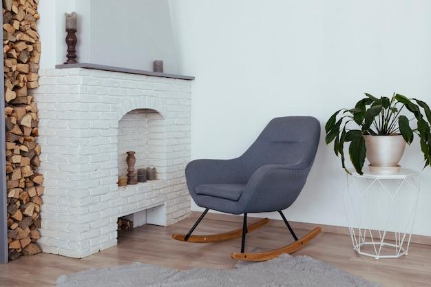 Minimalist vintage living room design Free Photo