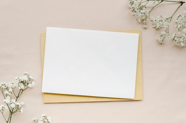 Minimalist wedding invitation flat lay Free Photo
