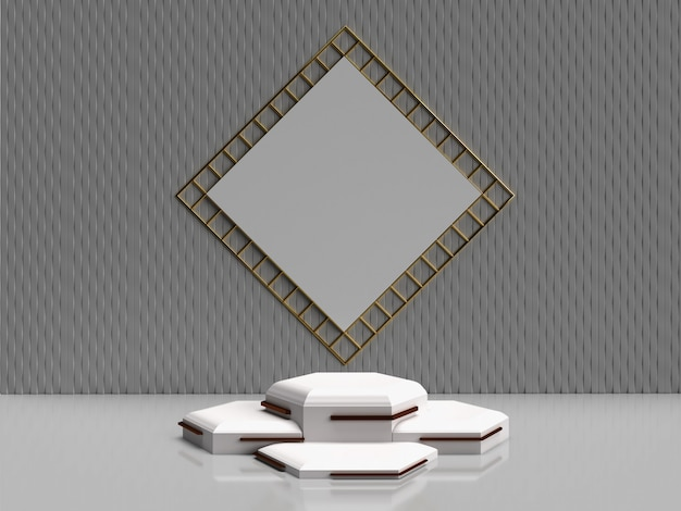 Minimalistic 3d rendering abstract geometric shape for products Premium Photo