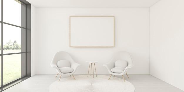 Минималистичный интерьер с элегантной рамой и креслами Premium Фотографии