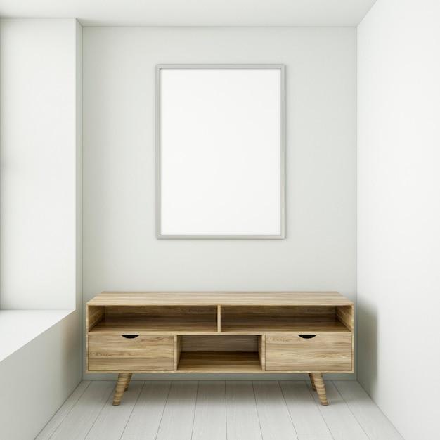 Минималистичный интерьер с элегантной рамой и письменным столом Premium Фотографии