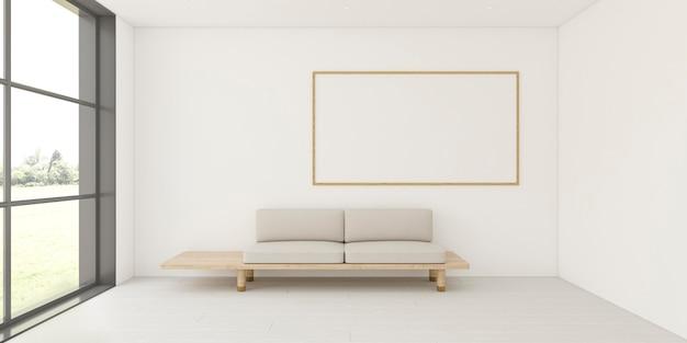 Минималистичный интерьер с элегантной рамой и диваном Premium Фотографии
