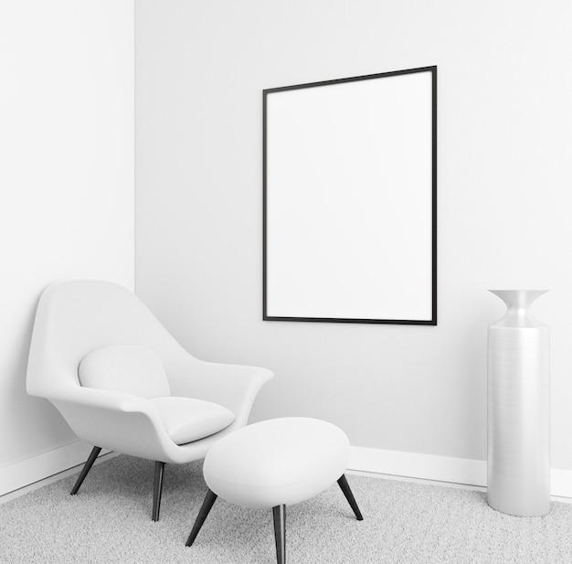 Interni minimalisti con elegante cornice e poltrona Foto Gratuite