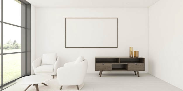 Minimalistic interior with elegant frame and armchairs Free Photo