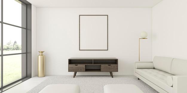 Minimalistic interior with elegant frame and sofa Free Photo