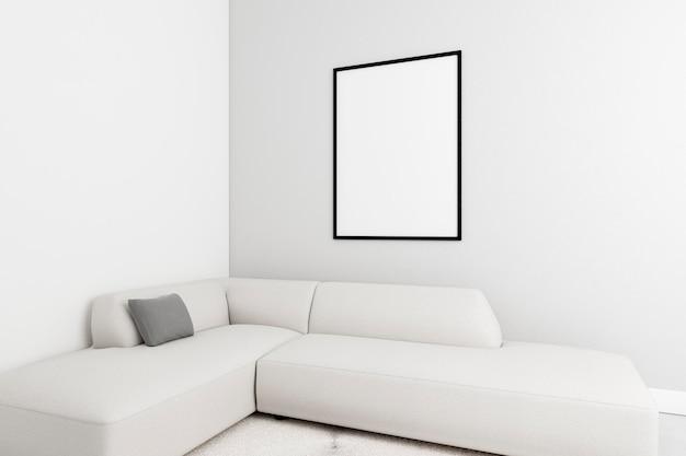Interni minimalisti con elegante cornice e divano Foto Gratuite