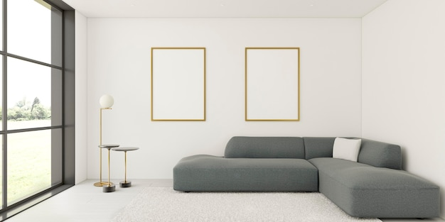 エレガントなフレームとソファを備えたミニマルなインテリア Premium写真