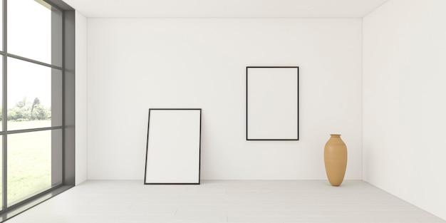Минималистичный интерьер с элегантными рамками Premium Фотографии