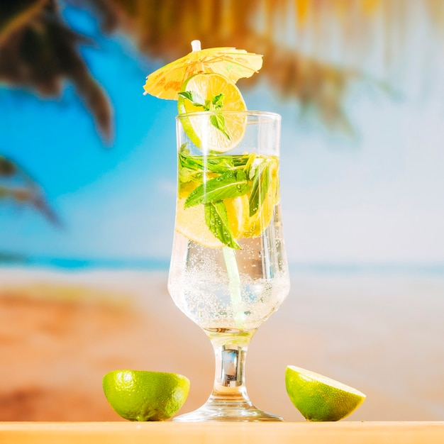 Mint fresh drink and sliced lime Free Photo
