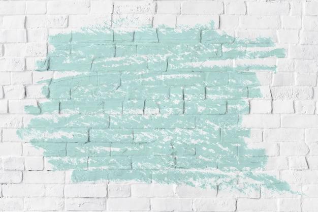 흰색 벽돌 벽에 민트 그린 오일 페인트 텍스처 무료 사진