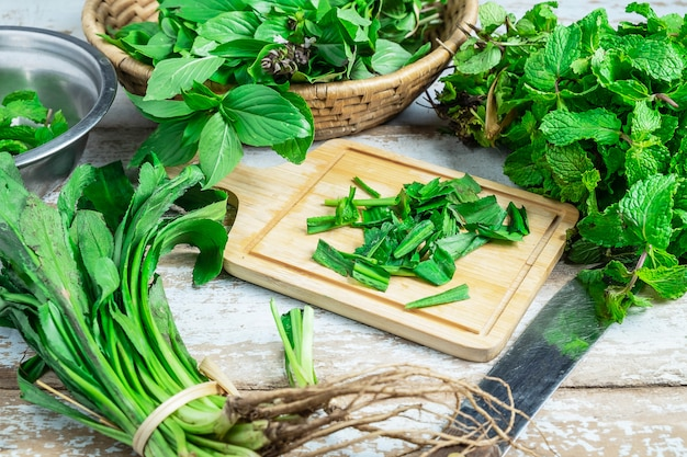 Mint herbs and culantro herbs for health Premium Photo