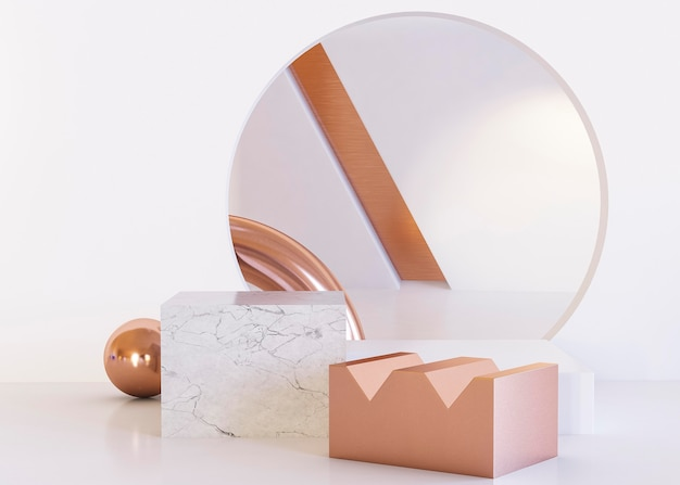 Mirror and geometric shapes background Premium Photo