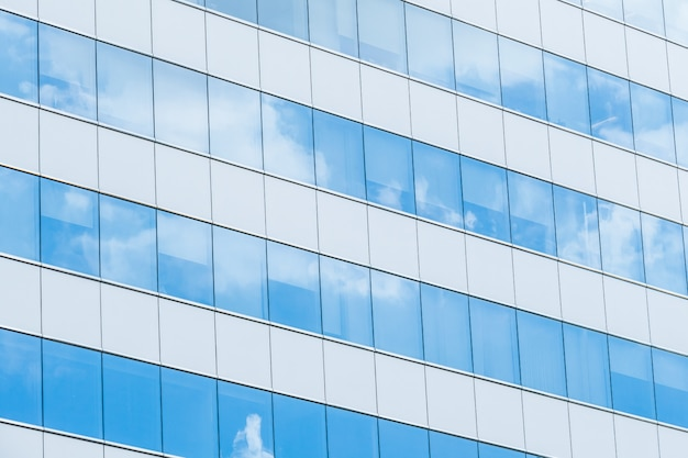 Mirrored facade grid cloud downtown Free Photo