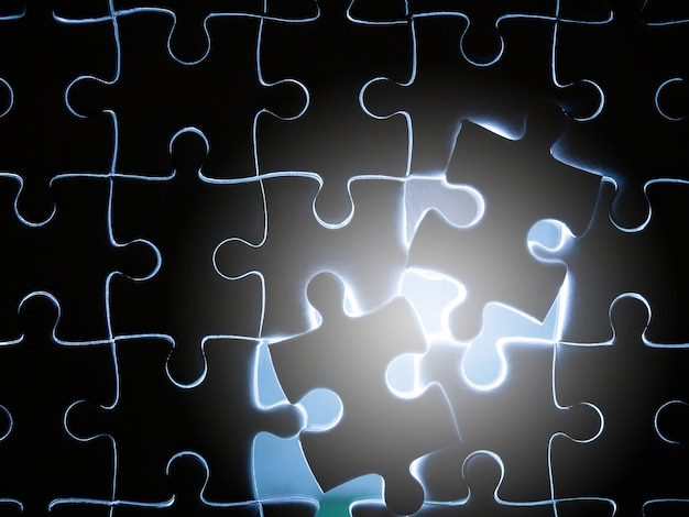 Missing jigsaw puzzle piece with lighting Premium Photo