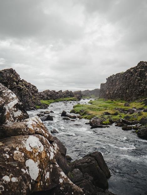アイスランドの霧深い川 無料写真