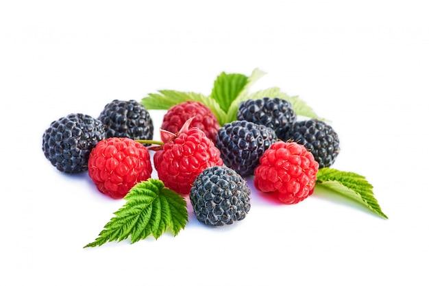 Mix berries with leaf. various fresh berries isolated . raspberry, blackberry. Premium Photo