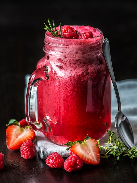 Mixed berry smoothie summer drink Free Photo