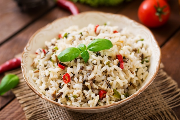 Mixed boiled rice with chilli and basil. dietary menu. Free Photo