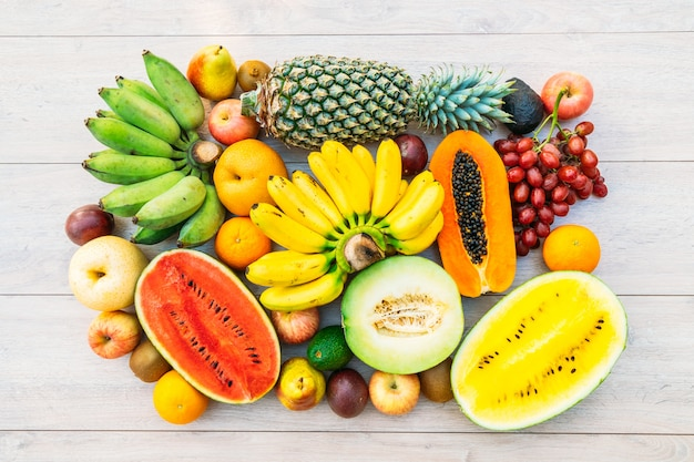 Mixed fruits with apple banana orange and other Free Photo