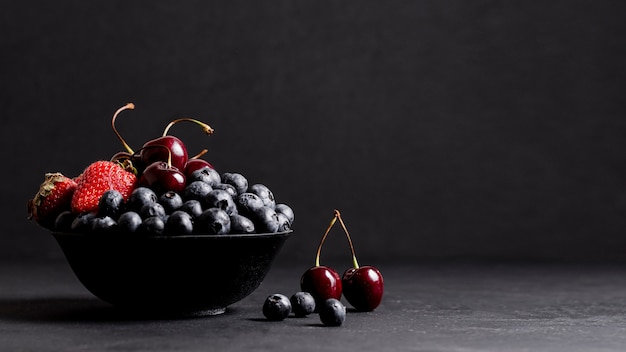 Mixed fruits with copy space Free Photo