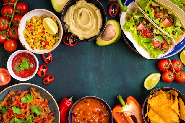 Mixed mexican food background Premium Photo