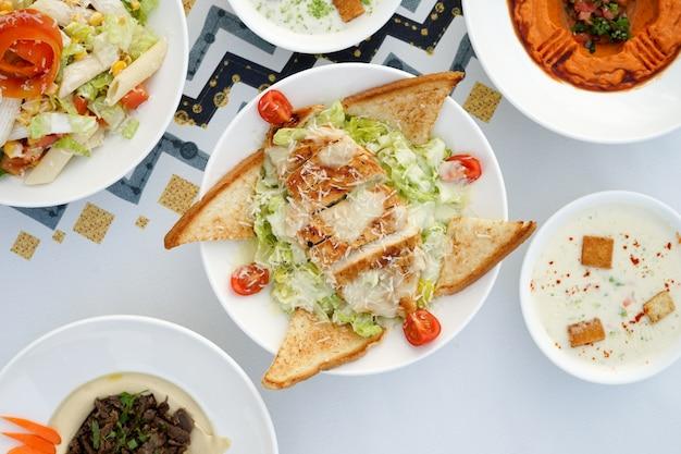 Mixed mezza, mixed appetizers, arabic appetizers,  egyptian cuisine, middle eastern food, arabian mezza, arabian cuisine, arabian food Premium Photo