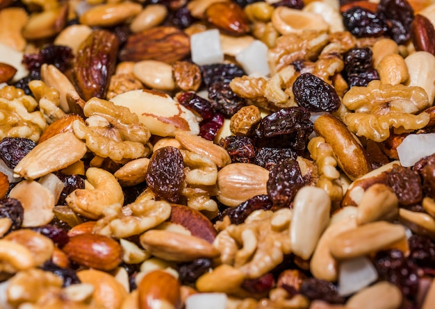 Mixed natural nuts assorments on market Free Photo