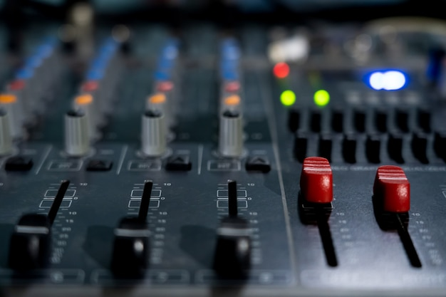 Ch max volume of sound mixing board for music. Stock photo image.