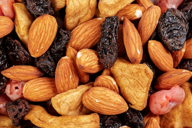 Mixture of dried fruits and nuts as a Premium Photo