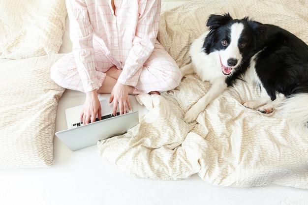 自宅のモバイルオフィス。自宅のラップトップpcコンピューターを使用して作業のペットの犬と一緒にベッドの上に座っているパジャマの若い女性。屋内で勉強しているライフスタイルの女の子。フリーランスのビジネス検疫コンセプト。 Premium写真