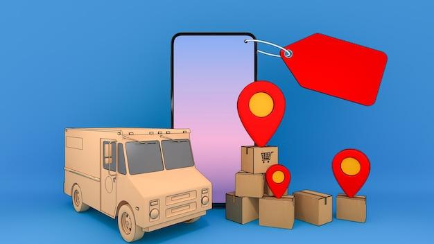 Мобильный телефон и грузовой фургон с множеством бумажных коробок и красных булавок, транспортная услуга онлайн-заказа мобильного приложения и концепция покупок и доставки, 3d-рендеринг. Premium Фотографии