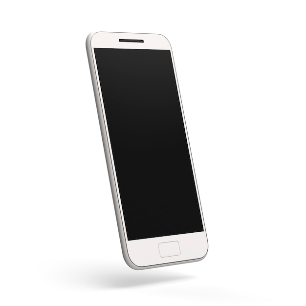 Mobile phone mockup cellphone 3d render smartphone on white background with dark screen Premium Phot