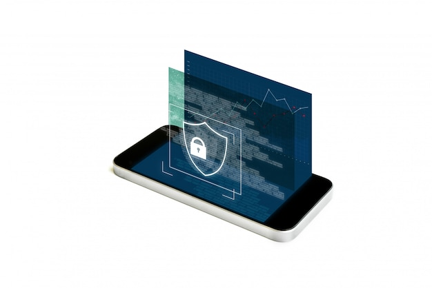 Mobile phone security and digital data security system. mobile smart phone with augmented reality security lock screen Premium Photo