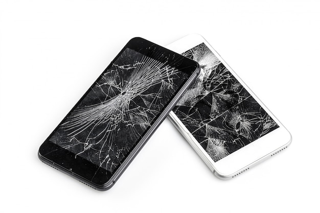 Mobile phone with broken screen Premium Photo