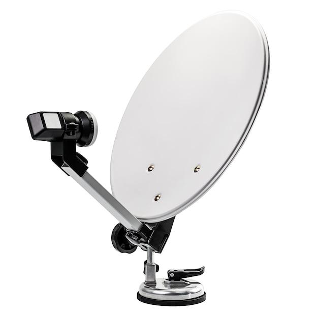 Mobile satellite dish isolated on white background Premium Photo