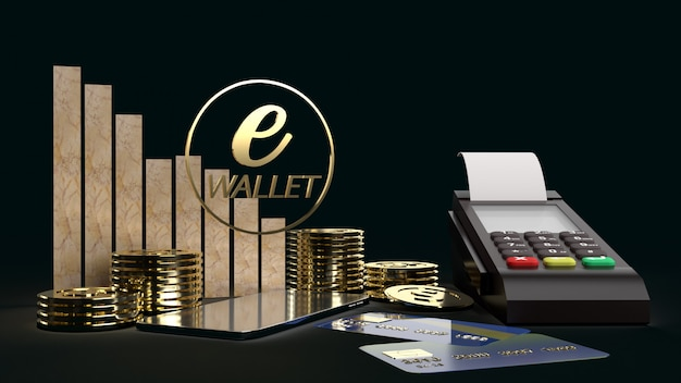 The mobile symbol e wallet  and gold coins 3d rendering for e business concept. Premium Photo