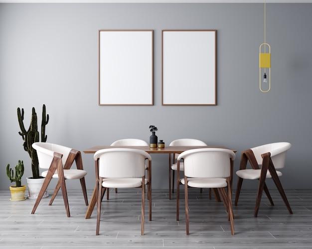 현대, 밝은 인테리어 배경, 거실, 스칸디나비아 스타일, 3d 렌더링, 3d 일러스트에서 2 포스터 프레임을 조롱 프리미엄 사진