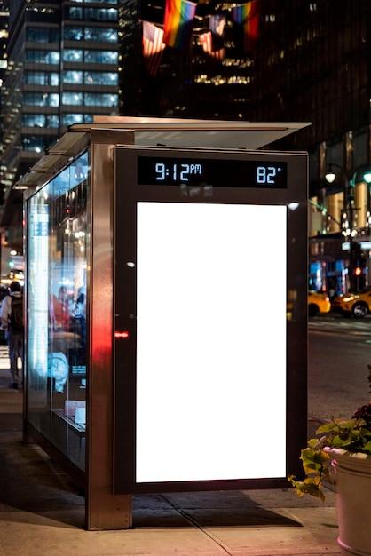Mock-up billboard in bus stop Free Photo