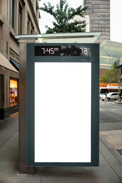 Mock-up billboard in bus stop Free Photo