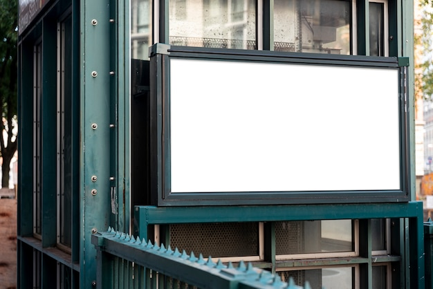 Mock-up billboard over metro entrance Free Photo